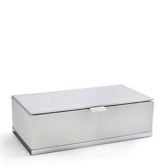 3SC Snowy Коробочка универсальная, 25х13хh8см, с крышкой, настольная, цвет: белая эко-кожа/хром