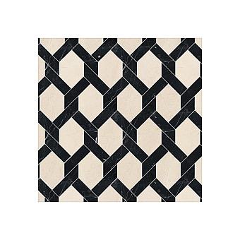 Devon&Devon Elite Плитка из натурального камня 35.4x40.2см, универсальная, мрамор, elite 15, цвет: crema marfil/black marquinha