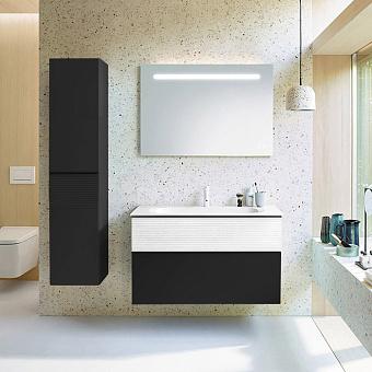 Burgbad Fiumo Комплект подвесной мебели 102х49х61см, с раковиной на 1 отв., ручки черные матовые, цвет: белый матовый/Graphit Softmatt