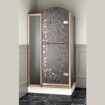 Devon&Devon Savoy Душевое ограждение прямоугольное Y70 69*109 см, с декоративными элементами,стекло с декором 4T, цвет: золото