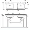 Kerasan Waldorf Раковина 150х55 см, 3 отв., керамическая, двойная, цвет: белый/бронза