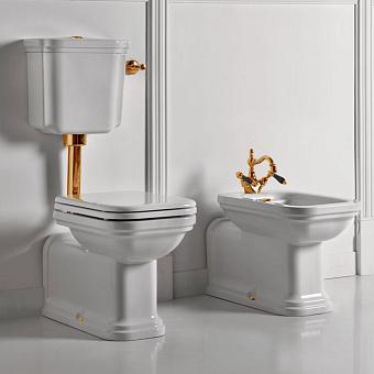 Kerasan Waldorf Унитаз напольный удлиненный 65х37см c низким бачком, трубой, фурнитура золото