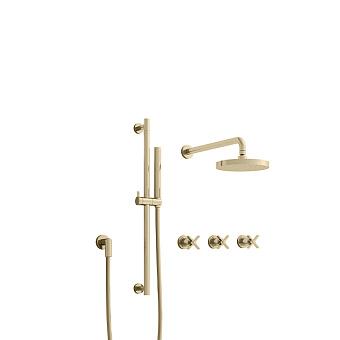 Cristina Cross Road Душевой комплект: смеситель встраиваемый, стойка с ручным душем, верхний душ, гибкий шланг, цвет: золото