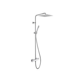 Cristina Quadri Душевой комплект: смеситель термостатический, стойка с верхним душем, ручной душ, гибкий шланг, цвет: хром