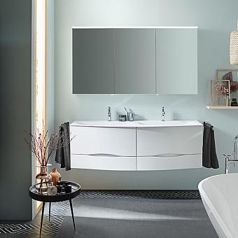 BURGBAD Sinea 2.0 Комплект подвесной мебели 151 см, база с 4 ящиками, двойная раковина из минерального литья цвет белый с зеркальным шкафом с подсветкой, цвет: белый глянцевый