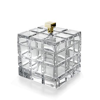 3SC Palace Баночка универсальная, 11x11xh13,5 см, с крышкой, настольная, цвет: прозрачный хрусталь/золото 24к. Lucido