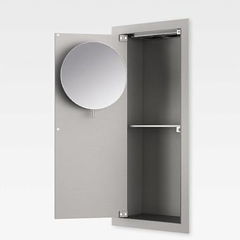 Armani Roca Island Встраиваемый шкафчик 25х13.1хh55см с зеркалом, розетками, полочкой и подсветкой (транформатор 12V/DC не включен) SX, цвет: silver