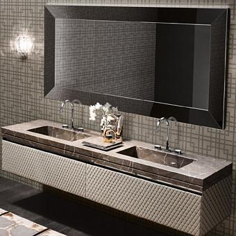 VITAGE milldue edition FOUR SEASONS Комплект мебели с базой, интегрированными раковинами PLANS, зеркалом YORK, 216см, Цвет: мрамор bronzo amani-B58/ экокожа visione-223/ черный хром