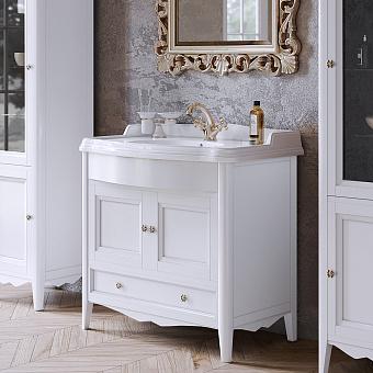 TW Veronica Nuovo комплект мебели с 1-м выдвижным ящиком и 2-мя дверцами, с доводчиками Blum, ручки: бронза, 90см, цвет: bianco