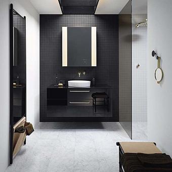 Burgbad Sys30 Комплект мебели: тумба с раковиной 1200х540х480 мм, 2 ящика, ручки латунь, с зеркальным шкафом, зеркало напольное, скамья, цвет: черный глянцевый