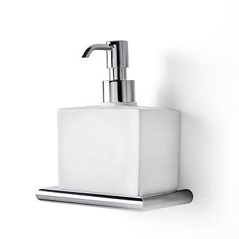 3SC Guy Дозатор для жидкого мыла, подвесной, композит Solid Surface, цвет: белый матовый/хром матовый