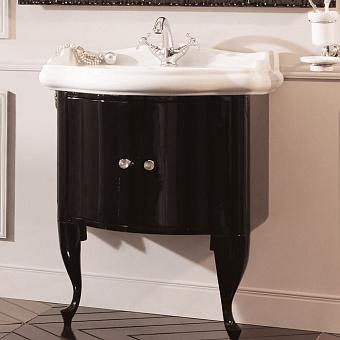 KERASAN Retro Комплект мебели, с ручкой кристалом (кольцо: хром), 69см, Цвет: nero  (черный глянец).