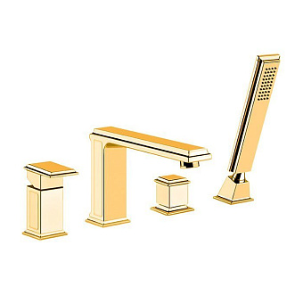 Gessi Eleganza Смеситель для ванны на 4 отверстия, с переключателем, изливом и ручным душем, цвет: золото