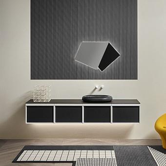 Antonio Lupi Bemade Комплект мебели с тумбами под раковину, раковиной Nero Marquinia, зеркалом с подсветкой, 54 см, цвет: Rovere ardesia