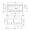 Duravit DuraSquare Ванна 1800x800мм,  угол справа, с панелью и ножками.с 2 наклонами для спины. цвет белый