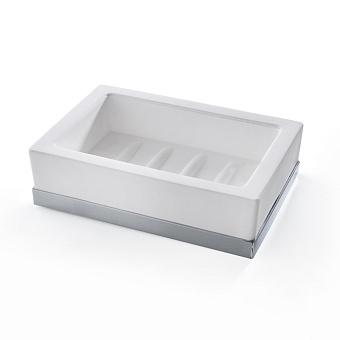 3SC Mood Deluxe White Мыльница настольная,  композит Solid Surface, цвет: белый матовый/хром