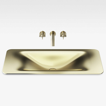 Armani Roca Baia Раковина 90x42 см, без отв., встраиваемая сверху, со скр. переливом, цвет: matt gold