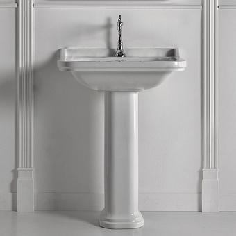 Kerasan Waldorf Раковина 80х55 см, 1 отв., керамическая, с пьедесталом, цвет: белый/хром