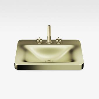 Armani Roca Baia Раковина встраиваемая сверху 66x47см с 3 отв. под смеситель, со скр. переливом, цвет: shagreen matt gold