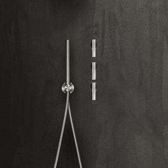 Falper Cilindro Смеситель для душа, 4 отв., настенный, цвет: нержавеющая сталь/черный