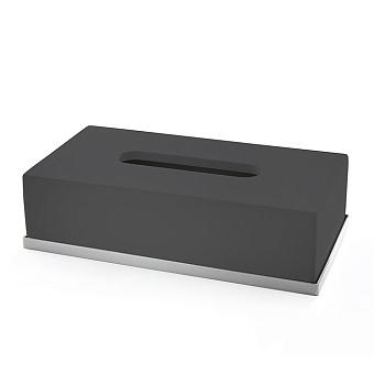 3SC Mood Deluxe Контейнер для бумажных салфеток, 24,5х13хh7 см, настольный, цвет: чёрный матовый/хром
