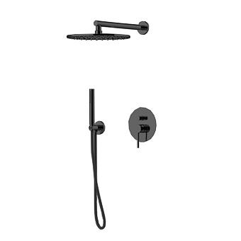 Gattoni Circle Two Комплект для душа со встроенным смесителем, с ручной лейкой и верхним душем 250 мм, цвет Nero Opaco