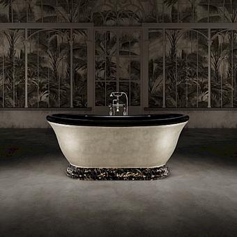 Devon&Devon Aurora 30° Ванна отдельностоящая 171x87xh70.5cм, материал: white teс, опора ванны - мрамор Portoro, отделка ванны: внутри черная глянцевая, снаружи покрыта алюминиевым листом с платиновой отделкой