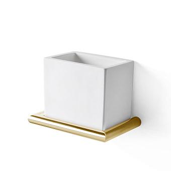 3SC Guy Стакан подвесной, композит Solid Surface, цвет: белый матовый/золото 24к. Lucido