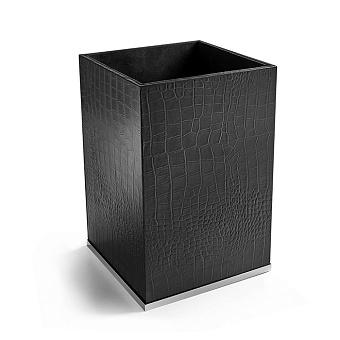 3SC Cocco Ведро без крышки 20х20хh30см, отделка: черная кожа, цвет: хром