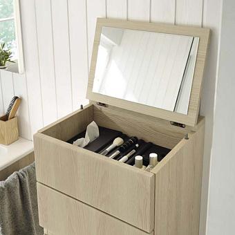 Burgbad Sys30 Шкаф 400х350х980 мм, подвесной, створка с зеркалом, открывающаяся наверх, 1 ящик, бельевая корзина, цвет: Frassino Dekor Cappuccino