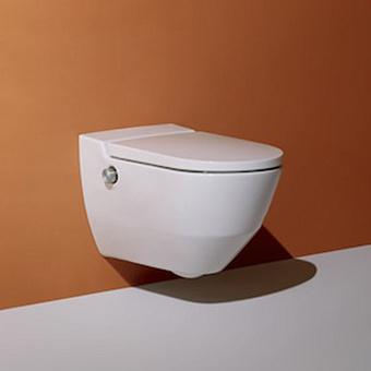 Laufen Cleanet Navia Унитаз-биде подвесной 58х37х38см, безободковый в комплекте с съемным сиденьем с микролифтом, цвет белый c покрытием LCC