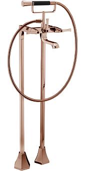 CISAL Cherie Смеситель напольный двухвентильный для ванны с ручной лейкой, держателем и шлангом 150 см, цвет золото розовое