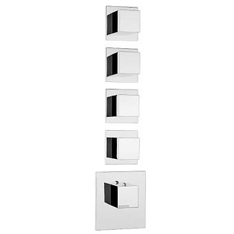 Bossini Cube Термостат для душа, встраиваемый, с девиаторм/3 запорных вентиля на 5 выходов, уст-ка верт/гор., цвет: хром