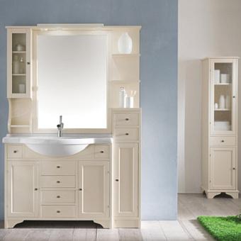 EBAN Eleonora Modular  Комплект мебели, с зеркалом со шкафчиком слева и светильником, полки справа, колонна правая, ручки хром, 130см, Цвет: Bianco Decape