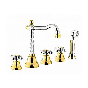 Webert Armony Смеситель для ванны, на 5 отв., с ручным душем, цвет: хром/золото