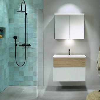 Burgbad Fiumo Комплект подвесной мебели 82х49х61см, с раковиной на 1 отв., ручки белые матовые, цвет: Eiche Dekor Cashmere/белый матовый