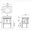 Gentry Home Black Chester Комплект мебели 73х96,5х60 см c мраморным топом и раковиной