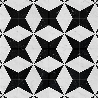 Devon&Devon Atelier Petit Marbre Плитка из натурального камня 40x40см, универсальная, мрамор, triangle, цвет: white carrara/black marquinha