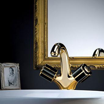 Bongio Fleur Noir, Смеситель для раковины, цвет: золото/черный фарфор