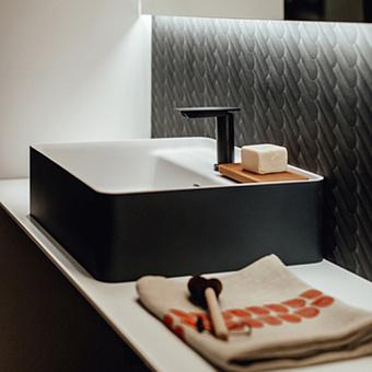 Agape Marsiglia Раковина прямоугольная 60x47x16 см, 1 отв., цвет: белый/темный серый