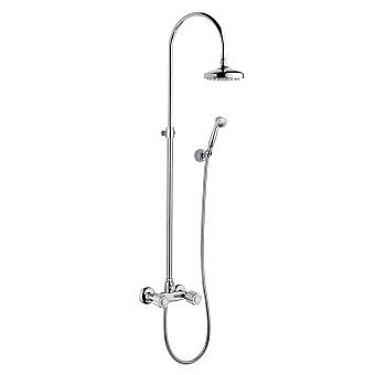Bongio Fleur Blanc Душевая стойка с верхней лейкой D-185 мм и ручным душем на держателе, цвет: хром/белый