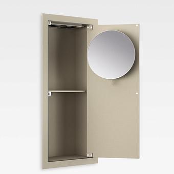 Armani Roca Island Встраиваемый шкафчик 25х13.1хh55см с зеркалом, розетками, полочкой и подсветкой (транформатор 12V/DC не включен) DX, цвет: greige