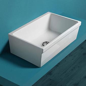 SIMAS Раковина 75 см, без отв., кухонная, накладная, цвет: белый