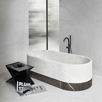 NOORTH milldue edition ROMA Ванна отдельностоящая 170x80хh50см, без перелива, с сифоном, цоколь Grafite, отделка Bianco Carrara