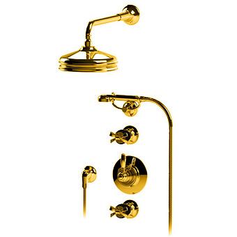 """Petracers Aquadolce, Встраиваемый термостатический смеситель для душа 1/2"""" на черном матовом, цвет: золото"""