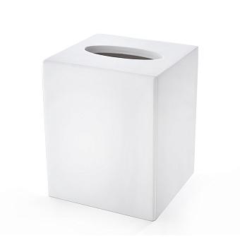 3SC Mood White Контейнер для бумажных салфеток, 12х12х14 см, квадратный, настольный, композит Solid Surface, цвет: белый матовый
