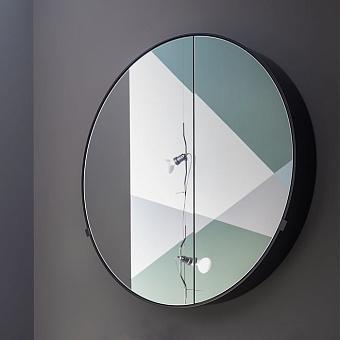 Cielo I Catini Круглое зеркало с пеналом, Ø90, цвет: Cemento