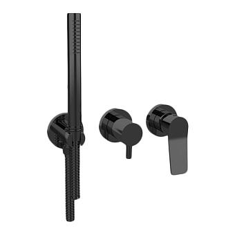 Bongio GIO2 Смеситель встроенный для душа с ручной лейкой, цвет: черный матовый