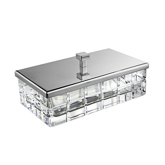 3SC Palace Коробочка универсальная, 23х12,5хh10см, с крышкой, настольная, цвет: прозрачный хрусталь/хром