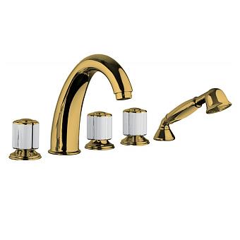 Bongio Fleur Noir Смеситель на борт ванны (5 отв.) с ручным душем, цвет: золото/черный фарфор